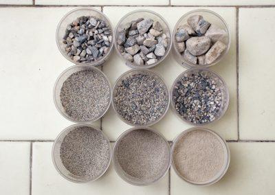 3.Curva granulometrica di una malta conservata in piccoli contenitori cilindrici