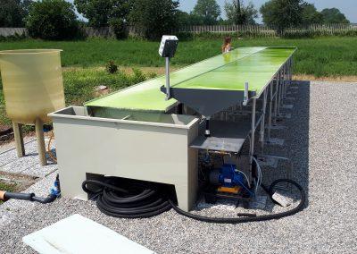 Reattore alla scala pilota per il trattamento delle acqua con consorzi di microalghe/batteri