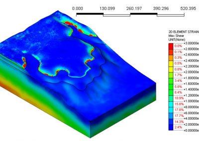 Modellazione numerica tridimensionale delle sollecitazioni di taglio agenti all'internodi un versante instabile