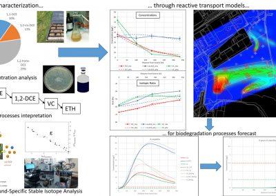 Caratterizzazione isotopica di contaminanti e modellazione numerica del trasporto reattivo in falda
